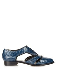 Robert Clergerie Ambro Crocodile Effect Leather Shoes Navy