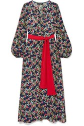 Saloni Lucia Belted Printed Silk Crepe De Chine Maxi Dress Navy