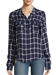 Paige Mya Plaid Blouse Peacoat Cream