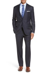 Peter Millar Men's Big And Tall 'Flynn' Classic Fit Plaid Wool Suit Blue