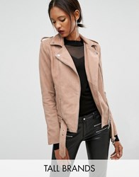 Y.A.S Tall Gwen Suede Biker Jacket With Belted Hem Nude Pink