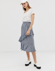 B.Young Zig Zag Print Layered Midi Skirt Multi