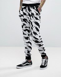 Asos Knitted Joggers In Houndstooth Design Black