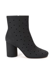 Maison Martin Margiela Hole Punch Mid Heel Ankle Boots Women Leather 41 Black