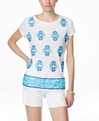 Inc International Concepts Short Sleeve Embellished T Shirt Only At Macy's Bright White