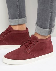 Pull And Bear Pullandbear Suede Desert Boot With Trainer Sole In Burgundy Burgundy Red