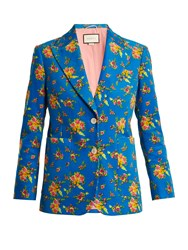 Gucci Single Breasted Floral Print Corduroy Jacket Blue Print