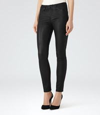 Reiss Darcie Womens Leather Trousers In Black