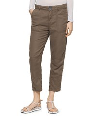 Calvin Klein Jeans Linen Patch Pocket Cropped Pants Olive