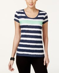 Styleandco. Style And Co. Sport Petite Short Sleeve Striped Tee