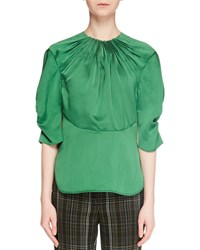 Carven Gathered Puff Sleeve Blouse Green