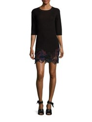 3.1 Phillip Lim Lace Embroidered Wool Blend Bodycon Dress Burgundy Black