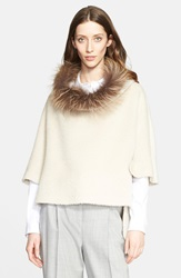 Fabiana Filippi Alpaca Wool Blend Poncho Sweater With Genuine Fox Fur Collar Ivory