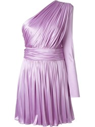Fausto Puglisi One Shoulder Drape Glossy Dress Pink And Purple