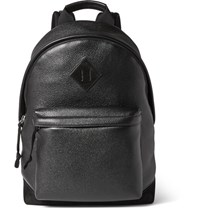 Tom Ford Suede Trimmed Full Grain Leather Backpack Black
