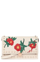 Topshop Ocean Pearl And Embroidered Faux Leather Crossbody Bag Beige Stone Multi