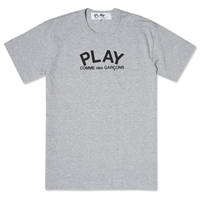 Comme Des Garcons Comme Des Garcons Play Small Logo Text Tee Grey And Black