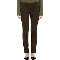 The Row Suede Relton Leggings Dark Olive