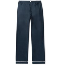 Sleepy Jones Marcel Piped Silk Twill Pyjama Trousers Blue