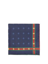 Gucci Bee Print And Web Striped Silk Pocket Square Navy