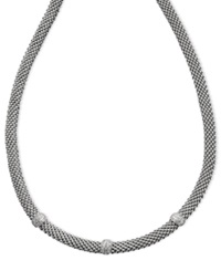 Macy's Diamond Mesh Necklace In Sterling Silver 1 4 Ct. T.W.