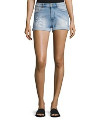 Cheap Monday Donna Distressed Faded Shorts Light Blue