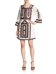 Calypso St. Barth Embroidered Bell Sleeve Dress White