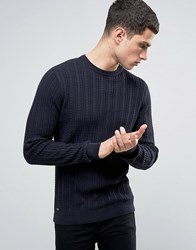 Tokyo Laundry Lightweight Cotton Cable Jumper Navy