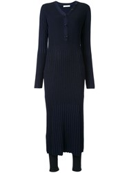 Loveless Slim Fit Ribbed Dress Blue