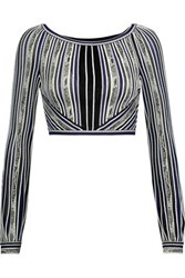 Roberto Cavalli Cropped Embroidered Stretch Knit Top Multi