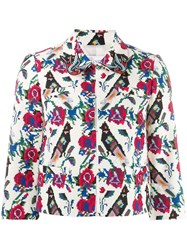 Red Valentino Floral Bird Print Cropped Jacket White