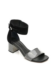 Bernardo Blythe Patent Leather City Sandals Black White