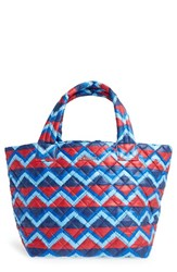 M Z Wallace Mz Wallace 'Small Metro' Quilted Oxford Nylon Tote Blue Zig Zag