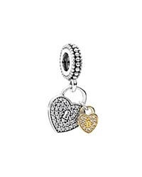 Pandora Design Pandora Charm 14K Gold Sterling Silver And Cubic Zirconia Love Locks Moments Collection Twotone
