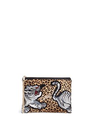 Venna Tiger Patch Leopard Print Hair Clutch Animal Print