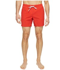 Lacoste Taffeta Gingham Swim Short Length Red Men's Swimwear