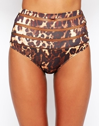 Asos Leopard Print Burn Out High Waist Bikini Pant Leopardprint