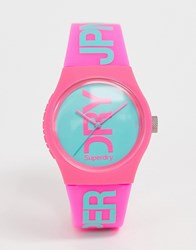 Superdry Silicone Watch In Pink Syl004pa