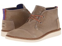 Toms Mateo Chukka Boot Desert Taupe Croc Embossed Leather Men's Lace Up Boots Brown