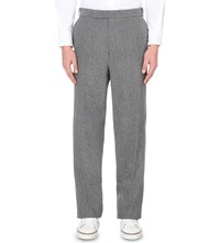 Thom Browne Regular Fit Straight Wool Blend Trousers Med Grey