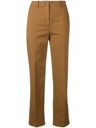 Aspesi Cropped Slim Fit Trousers Brown