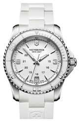 Victorinox 'Maverick' Rubber Strap Watch 34Mm White