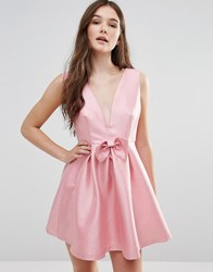 Pixie And Diamond Bow Front V Neck Dress Light Pink