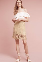 Anthropologie Claire Crotcheted Skirt Neutral