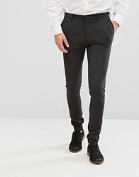 Asos Super Skinny Smart Joggers In Charcoal Charcoal Grey
