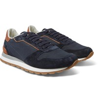 Brunello Cucinelli Leather Trimmed Suede And Mesh Sneakers Blue