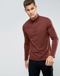 Asos Long Sleeve Jersey Polo In Red Red