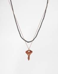 Asos Necklace Pack With Key Copper
