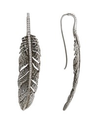 Michael Aram Large Feather Drop Earrings With Diamonds