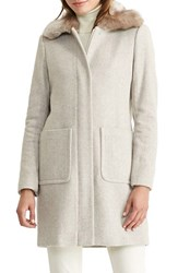 Lauren Ralph Lauren Women's Wool Blend Coat With Faux Fur Collar
